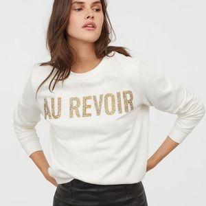 H & M Au Revoir crewneck sweater size M